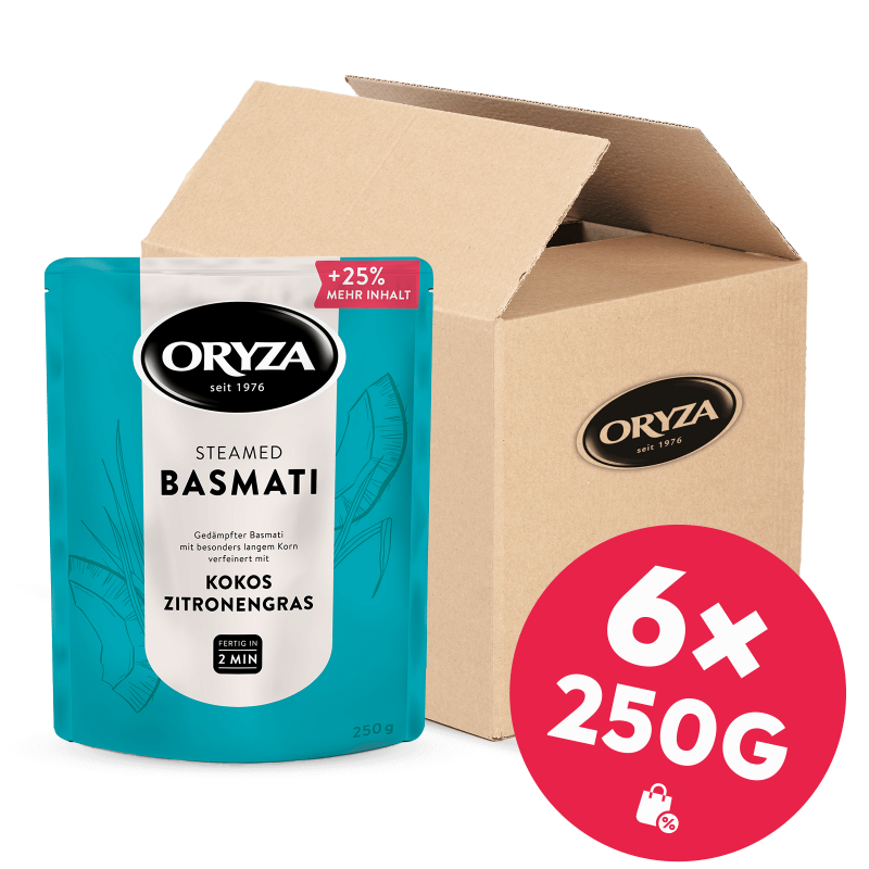 ORYZA Steamed Basmati Kokos & Zitronengras 6x 250g
